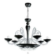 Leucos Orleans L 12 Chandelier in Black and Crystal and Chrome by MariToscano
