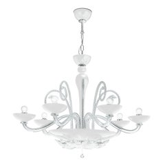 Leucos Orleans L 12 Chandelier in White & Crystal & Chrome by MariToscano