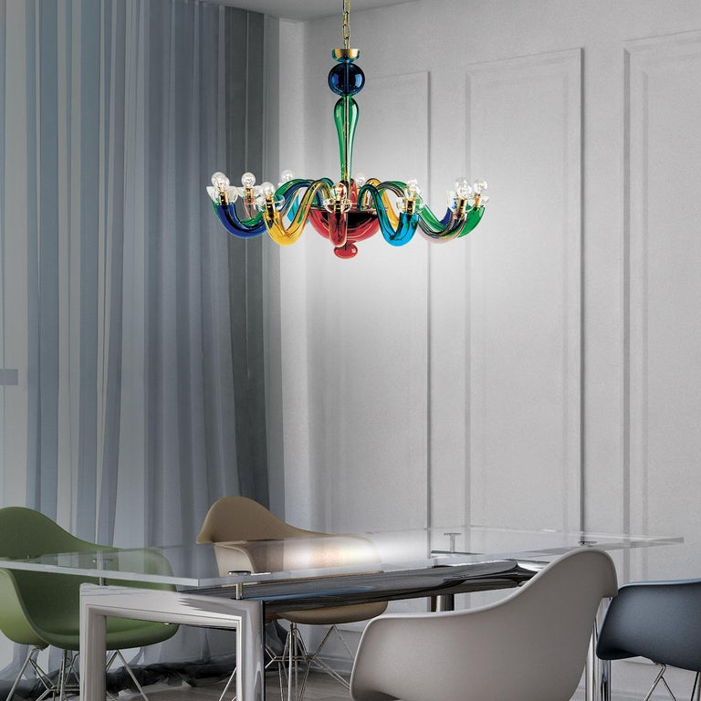 Modern Leucos Serenisima L 12 Chandelier in Multi-Color and Gold by Archivio Storico For Sale