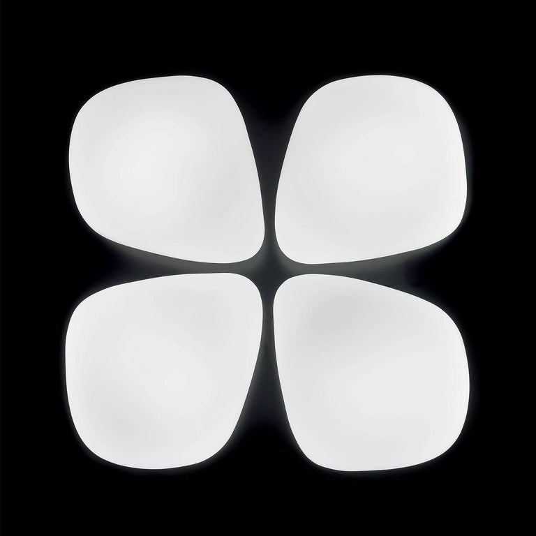Modern Leucos Stone P-PL Wall or Ceiling Light in Satin White by Design Lab For Sale