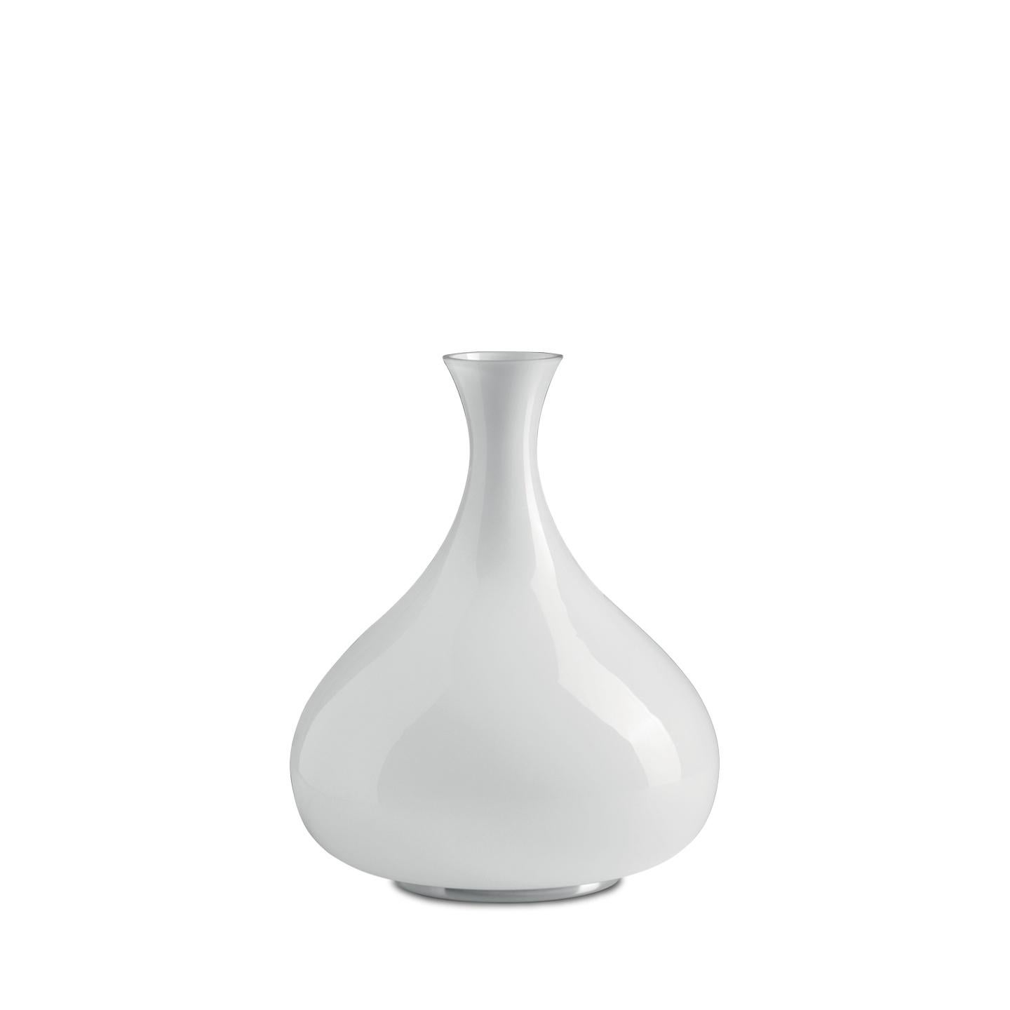 Leucos Summer T Table Light in Glossy White and Chrome by Eva Zeisel