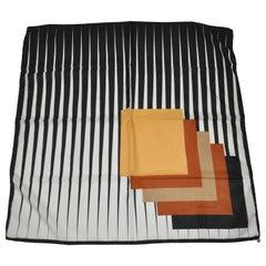 "Leuwardi of Italy ""Optical Stripe And Multi-Block"" Print Scarf"