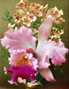 Orchids - 20th Century Russian Oil, Still Life of Flowers by Lev Tchistovsky