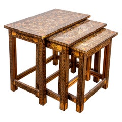 Levantine Inlaid Mixed Wood Nesting Tables