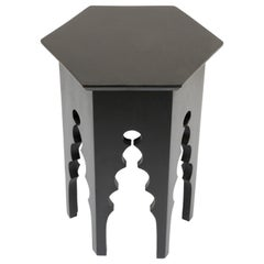 Levantine Moorish Style Hexagonal Black Side Accent Table