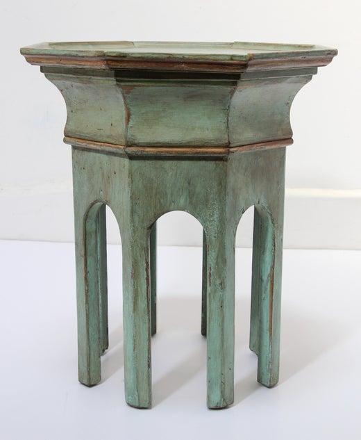 Levantine Moorish Style Hexagonal Jade Green Accent Side