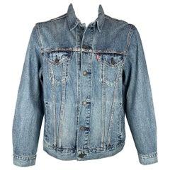 LEVI STRAUSS Vintage Fit Size L Blue Denim Virgil Trucker Jacket