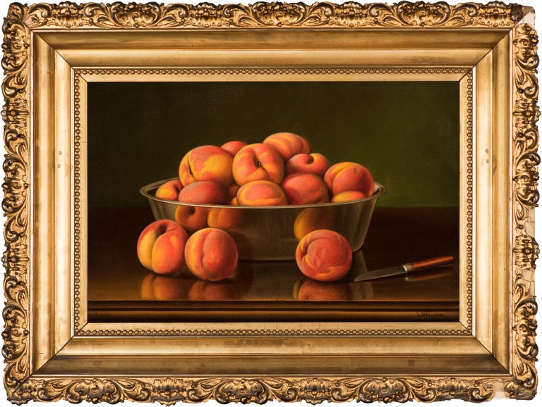 Still Life with Peaches in a Silver Bowl - Painting by Levi Wells Prentice