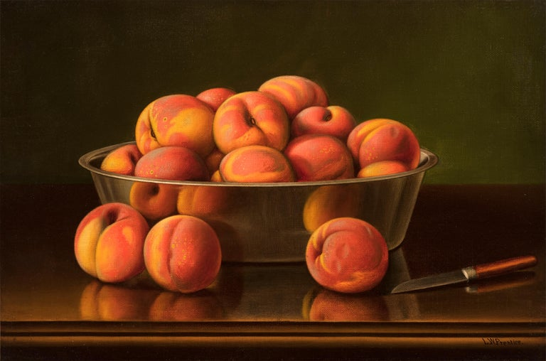 Levi Wells Prentice Still-Life Painting - Still Life with Peaches in a Silver Bowl