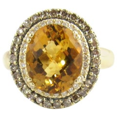 LeVian 14 Karat Yellow Gold Citrine and Diamond Ring