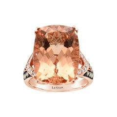 LeVian 14k Rose Gold Pink Morganite Chocolate Brown Round Diamond Cocktail Ring