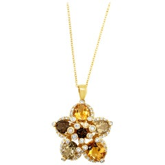 LeVian 14K Yellow Gold Citrine, Gemstone, White Diamond Flower Pendant Necklace