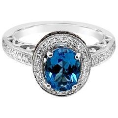LeVian 1.5 Carat Blue Topaz Chocolate Diamonds White Diamonds White Gold Ring