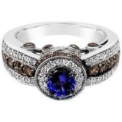 LeVian 1.5 Carat Sapphire White Diamonds Chocolate Diamonds 14k White Gold Ring