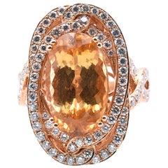 Levian 18 Karat Rose Gold Imperial Topaz and Diamond Ring