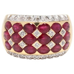LeVian 18 Karat Yellow Gold, Ruby and Diamond Wide Band Ring