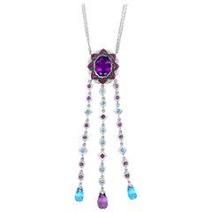 LeVian 18K White Gold Amethyst, Topaz, Pink Sapphire & Diamond Pendant Necklace