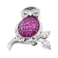 Levian 18 Karat White Gold Sapphire, Ruby, Diamond, and Garnet Owl Pin
