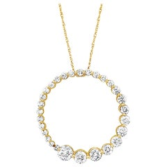 "LeVian 14K Yellow Gold Diamond Spiral Open Circle Eternity 18"" Pendant Necklace"