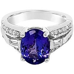 LeVian 2 Carat Tanzanite White Diamond Ring, 14 Karat White Gold
