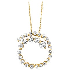 LeVian 2 Carat White Diamond Halo Pendant, 14 Karat Yellow Gold