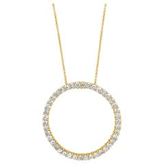 "LeVian 18K Yellow Gold Round Diamond Open Circle Eternity 18"" Pendant Necklace"