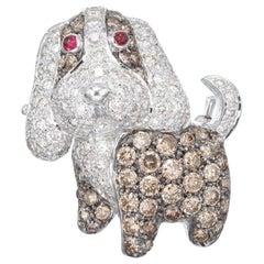 Levian 2.1 Carat Diamond Ruby White Gold Dog Brooch Pendant