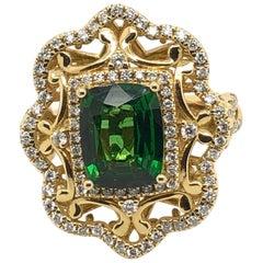 Levian 2.2 Carat Tsavorite Yellow Gold Couture Ring