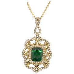 Le Vian 2.25 Carat Tsavorite Diamond Yellow Gold Couture Pendant