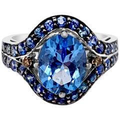 Le Vian 2.8 Carat Ring Blue Topaz Sapphire Chocolate Diamonds 14k White Gold
