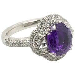 Levian 3.2 Carat Purple Sapphire Platinum White Gold Couture Ring