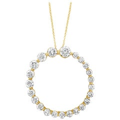 LeVian 14K Yellow Gold Diamond Open Circle Eternity Journey Pendant Necklace