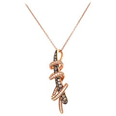LeVian Chocolatier Chocolate and Vanilla Diamond Swirl Wrap Pendant Necklace