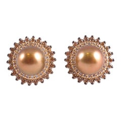 LeVian Cultured Chocolate Pearl and Diamond Earrings