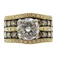 LeVian Designer 14 Karat Round Chocolate and White Diamond 4.00 Carat Ring