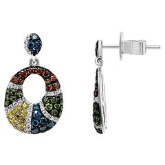LeVian Earrings Featuring Blue, Red, and White Fancy Diamonds in 14K White Gold