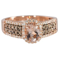 LeVian Morganite with .50 CTW Chocolate and White Diamond Rose Gold Ring 14K