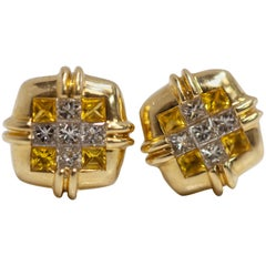 LeVian Pair of Earrings 18 Karat Yellow Gold with Diamonds