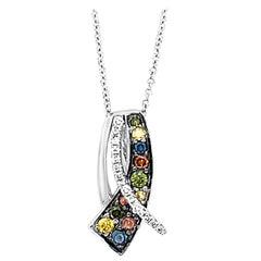 Le Vian 14K White Gold Multi-Hue Blue/Green/White Fancy Diamond Pendant Necklace