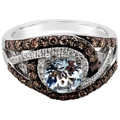 LeVian Ring Aquamarine Chocolate Diamonds Vanilla Diamonds 14 Karat Vanilla Gold