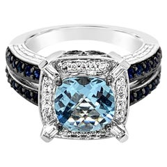 LeVian Ring Aquamarine Sapphire Vanilla Diamonds 14 Karat Vanilla Gold