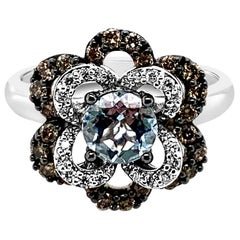 LeVian Ring Aquamarine Vanilla Diamonds Chocolate Diamonds 14 Karat White Gold