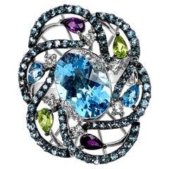 LeVian Ring Blue Topaz Peridot Amethyst Vanilla Topaz 14 Karat Vanilla Gold