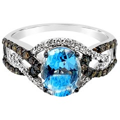 LeVian Ring Blue Topaz Vanilla Diamonds Chocolate Diamonds 14 Karat Vanilla Gold