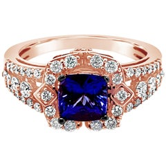 LeVian Ring Blueberry Tanzanite Vanilla Diamonds 18 Karat Strawberry Gold