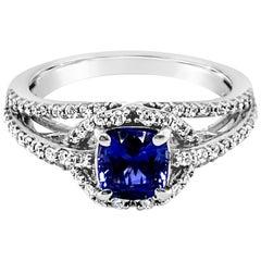 LeVian Ring Cornflower Ceylon Sapphire Vanilla Diamonds 14 Karat Vanilla Gold