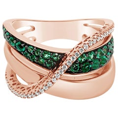 LeVian Ring Costa Smeralda Emeralds Vanilla Diamonds 14 Karat Strawberry Gold