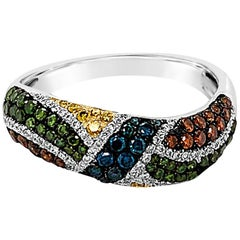 LeVian Ring Featuring Green/Yellow/White/Fancy Diamonds Set in 14k White Gold