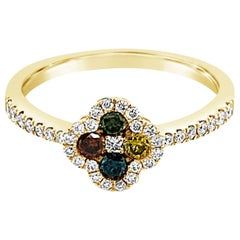 LeVian 14K Yellow Gold Round Multi-Color Diamond Classic Cluster Flower Ring