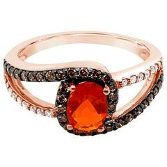 LeVian Ring Fire Opal Chocolate Diamonds Vanilla Diamonds 14K Strawberry Gold